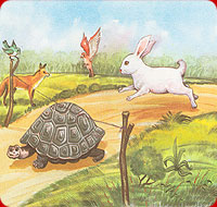 tortoise finishing the race before the rabbit